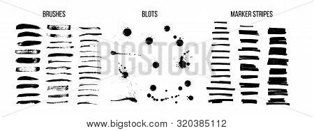 Black Ink Brush Strokes Vector Set. Freehand Dry Brush Lines, Marker Stripes And Dirty Blots. Grunge