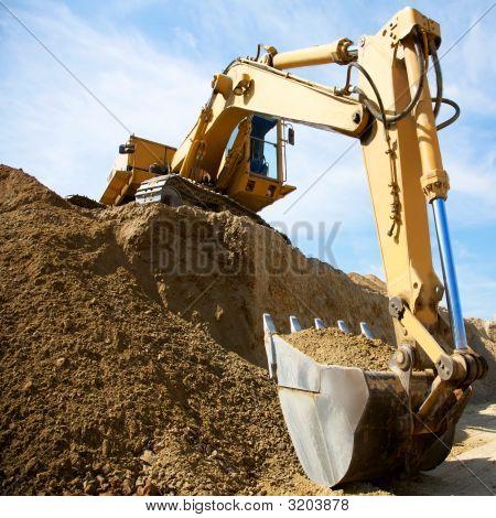 the yellow excavator