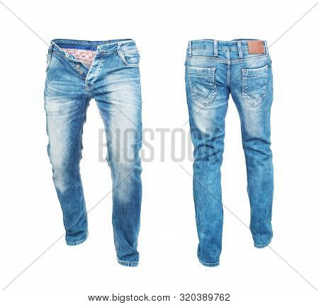 Blank Jeans Pants Frontside And Backside Isolated On A White Background