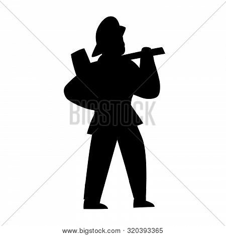 Black Silhouette Of Firefighter. Character Illustration Isolated On White. Cartoon People Vector Fla