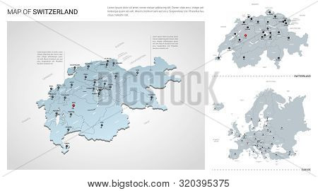 Vector Set Of Switzerland Country.  Isometric 3d Map, Switzerland Map, Europe Map - With Region, Sta