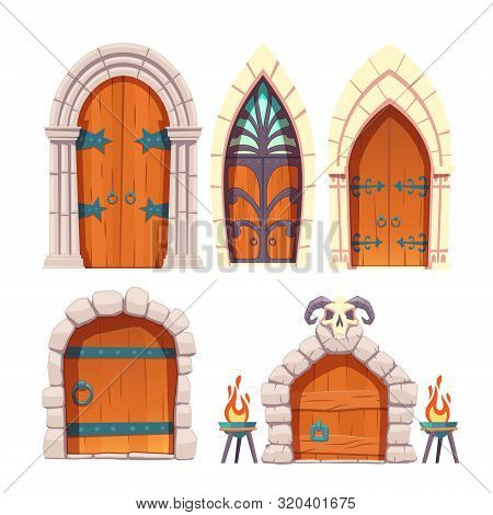 Medieval Castle, Fantasy Citadel Or Fortress, Scarifying, Fairy Dungeon Or Temple Heavy, Wooden Door