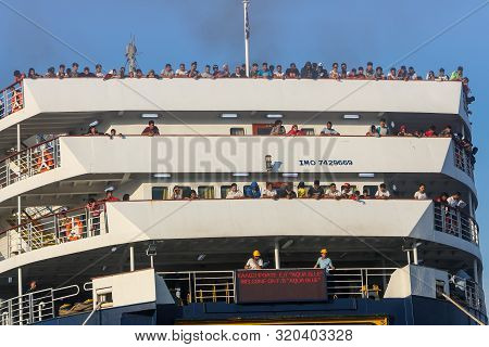 Refugees And Migrants Disembark To The Port Of Thessaloniki After Being Transfered From The Refugee