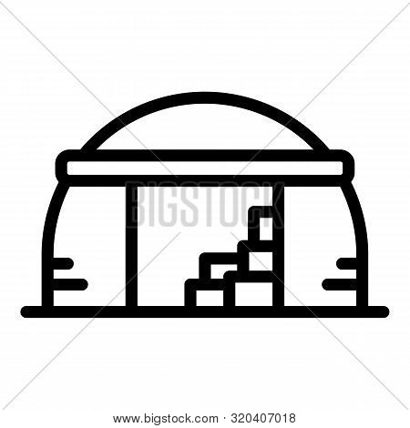 Old Hangar Icon. Outline Old Hangar Vector Icon For Web Design Isolated On White Background