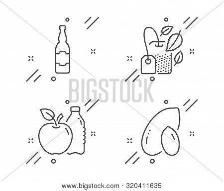 Mint Bag, Beer Bottle And Apple Line Icons Set. Peanut Sign. Mentha Tea, Craft Beer, Diet Food. Vege