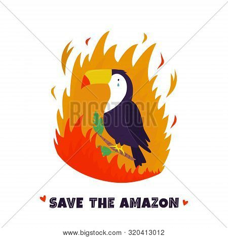Amazonian Forest In Fire. Toucan In Flame. Vector Illustration. Ecological And Environmental Catastr
