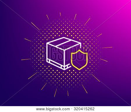 Delivery Insurance Line Icon. Halftone Pattern. Parcels Tracking Sign. Shipping Box Symbol. Gradient