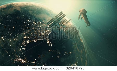 Cosmonaut flies to modern International Space Station with solar panels under blue light. 3d render animation. Science and technology concept. Elements of this media furnished by NASA