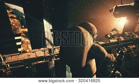 Astronaut rotates against International Space Station panels reflecting Earth against Sun. 3d render animation. Science and technology concept. Elements of this media furnished by NASA