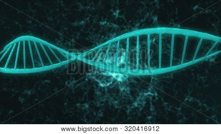 computer graphic of blue elements creating DNA large light blue model part turning around in dark flashing background with thin white winding threads. 3d animation. Medicine biology science concept.