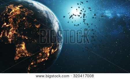 Magnetic space rocks approach planet Earth illuminated by Sun against blue star light. 3d rende animation. Science and technology concept. Elements of this media furnished by NASA