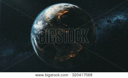 Rotating planet Earth lit by bright Sun in dark outer space against Milky Way zoom out. 3d render animation. Science and technology concept. Elements of this media furnished by NASA