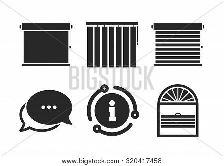 Plisse, Rolls, Vertical And Horizontal. Chat, Info Sign. Louvers Icons. Window Blinds Or Jalousie Sy