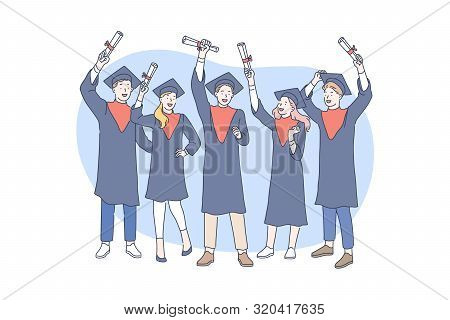 Education, Graduation, Awarding Concept. Awarding Successful Graduate Students In School Or College