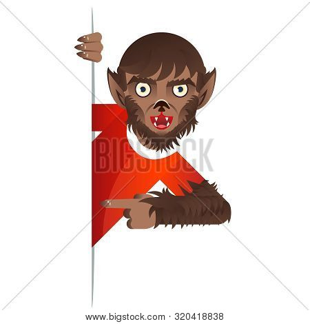 Werewolf costume role character halloween party look out the corner template decoration vector Illustration poster