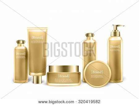 Set Of Cosmetic Bottles With Design Label Mock Up Isolated On White Background. Cosmetic Cream Conta