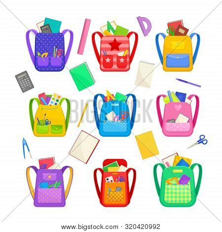 Set Of School Backpacks And Stationery. Vector Illustration On A White Background.