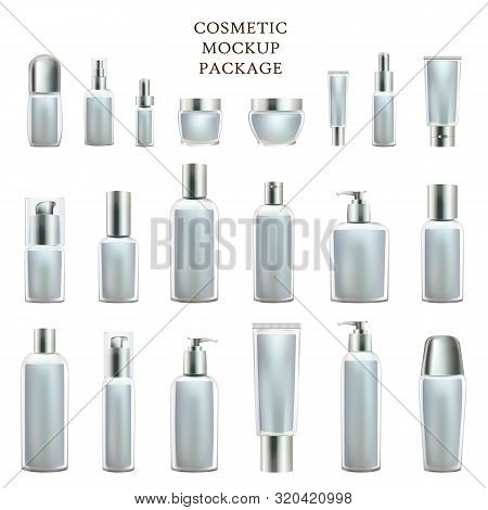 Cosmetic Mockup Package. Set Of Empty Bottles Isolated On White Background. Cream Containers And Tub