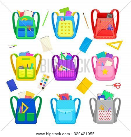 Set Of Different School Backpacks With Stationery. Vector Illustration On A White Background.