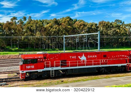Adelaide Parklands Terminal, South Australia - August 4, 2019: The Ghan Train Departing From Adelaid