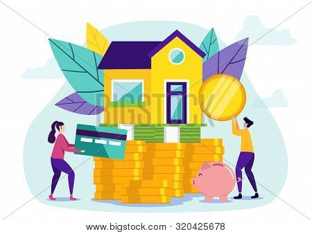 Woman With Credit Card.man With Coin.buying House On Credit. Buying Home. Vector Illustration.people