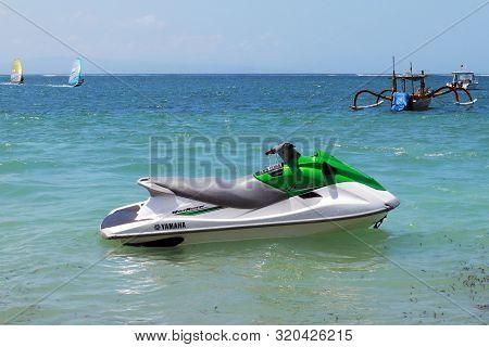 Sanur Beach,bali. August 31 2019 : Green Jetski On A Beach