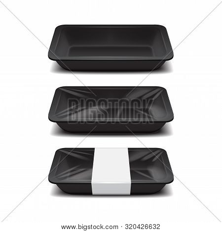 Empty Styrofoam Food Storage. Black Food Plastic Tray, Set Of Foam Meal Containers With White Label