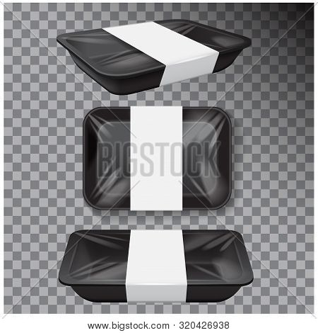 Styrofoam Food Storage. Black Food Plastic Tray, Dark Foam Meal Container, Empty Box For Food Vector