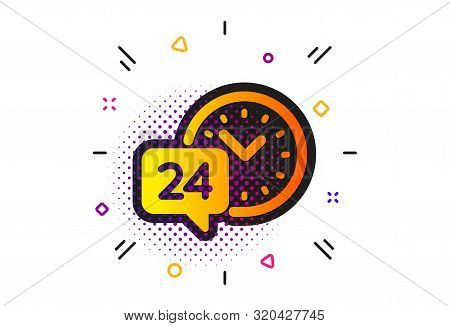 Call Support Sign. Halftone Circles Pattern. 24 Hour Time Service Icon. Feedback Chat Symbol. Classi