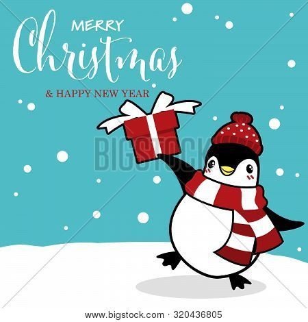 Christmas Holiday Season Background With Cute Cartoon Penguins In Winter Custom On Snow Hill With Gi