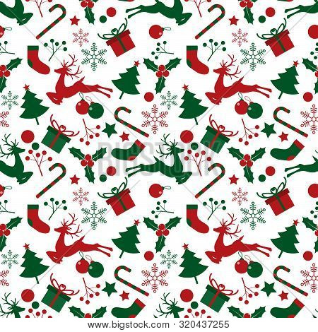 Christmas Elements Seamless Pattern For Greeting Cards, Wrapping Papers Etc. Design For Greeting Sea