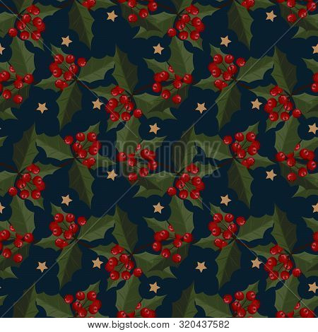Christmas Elements Of Star With Holly Leaves And Berries Ornate Seamless Pattern For Greeting Cards,