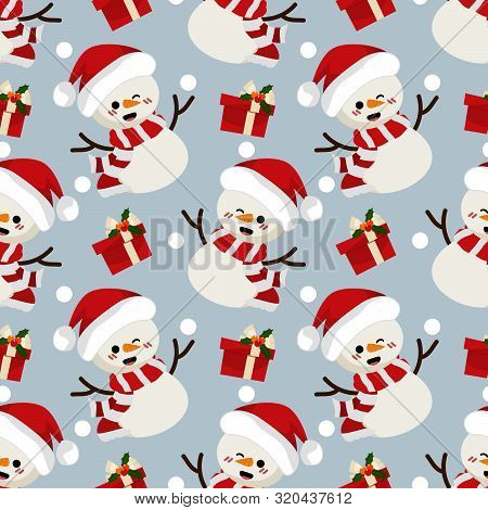 Christmas Holiday Season Seamless Pattern Of Snowman, Snowflakes And Gift Box Seamless Pattern. Cute