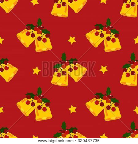 Christmas Holiday Season Seamless Pattern With Christmas Decorations Seamless Pattern With Gold Bell