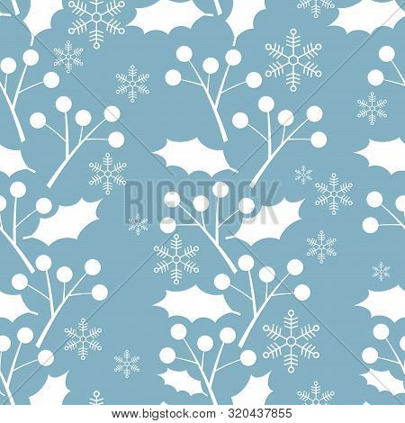 Christmas Elements, Snowflakes With Holly Leaves And Berries Ornate Seamless Pattern For Greeting Ca