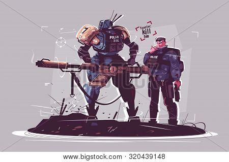 Police Of Future Vector Illustration. Patrol Cops