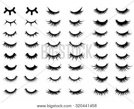 Set Of Female Eyelashes. Collection Of False Eyelashes. Black And White Illustration Of Closed Eyes.