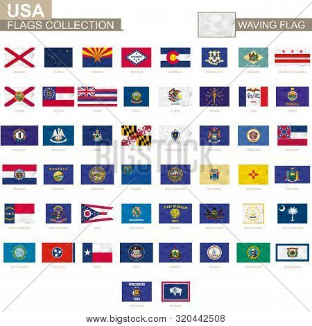 Us States Waving Flag Collection. Vector Illustration.