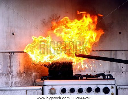 Demonstration of water on oil fire