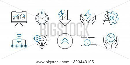 Set Of Science Icons, Such As Time, Energy Drops, Cogwheel Dividers, Seo Idea, Swipe Up, Time Manage