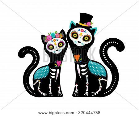 Day Of The Dead, Dia De Los Muertos, Cats Skulls And Skeleton Decorated With Colorful Mexican Elemen