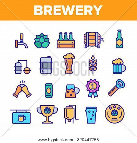 Collection Beer Brewery Elements Vector Icons Set Thin Line. Alcohol Foam Drink Brewery Concept Line