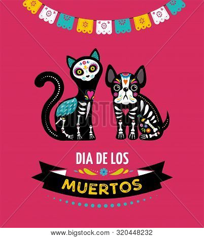 Day Of The Dead, Dia De Los Moertos, Animals Skulls And Skeleton Decorated With Colorful Mexican Ele
