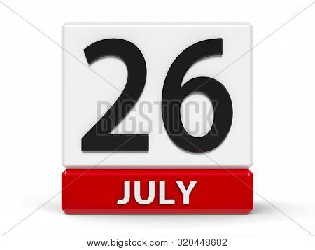 Red And White Calendar Icon From Cubes - The Twenty Sixth Of July - On A White Table - Esperanto Lan
