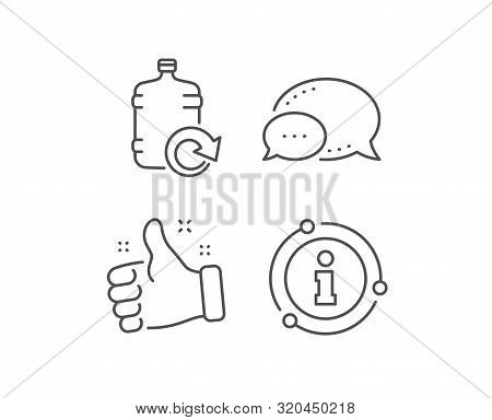 Water Cooler Bottle Line Icon. Chat Bubble, Info Sign Elements. Refill Aqua Drink Sign. Liquid Symbo