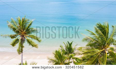 Aerial View Palm Beach In Tropical Idyllic Paradise Island.
