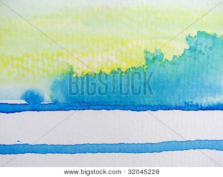 Yellow Blue and White Watercolor 3