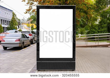 Advertising Space Under The Poster. Lightposter Citylight Mockup Small Billboard In The City Near Th
