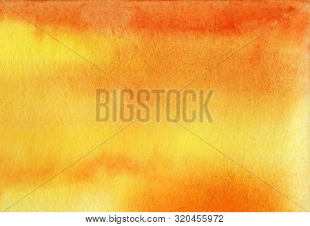 Abstract Watercolor Background. Gradient Fill On Wet Yellow And Orange Colors. Smooth Transition. Su