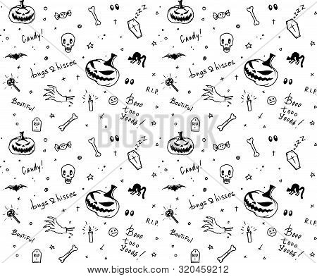 Hand Drawn Black And White Halloween Seamless Pattern Design For Card, Fabric Or Wrapping Paper With